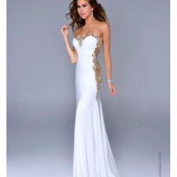 Ivory Satin & Gold Filigree Strapless Gown