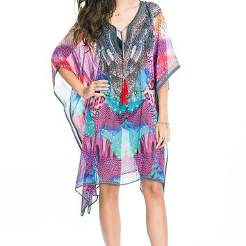 Caftan Kaftan with Beaded neck line and cross lace with Tassel by La Moda