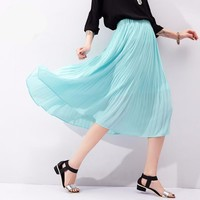 To Youth 2016 Summer Women Solid Color Pleated Elastic Waist Medium-long Swing Chiffon Bohemian Casual Skirt