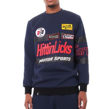 Hittin Motor Sports Custom Crewneck Navy