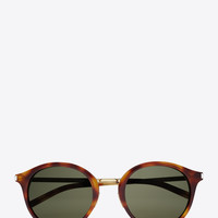 SAINT LAURENT CLASSIC 57 SUNGLASSES IN SHINY BLACK ACETATE AND SHINY GOLD STEEL WITH GREEN LENSES | YSL.COM