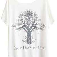 Sheinside White Batwing Short Sleeve Wishing Tree Print T-Shirt
