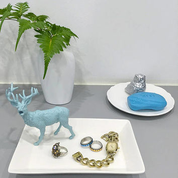 Mint Blue Deer White Ceramic Ring Dish Jewelry Dish. Forest Animal Soap Dish. Birthday Gift.Housewarming New Home Gift.Special Gift Under 20