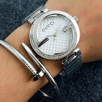 ONETOW GUCCI double G single G diamond men and women watches F-Fushida-8899 Silver + white dial