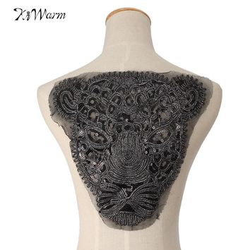 Panther Sequins Embroidered iron on Patches Sitckers For Clothing DIY Motif Rhinestone Beads Lace Animals Applique