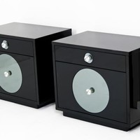 www.roomservicestore.com - Boca Side Tables in Black with Smoked Mirror