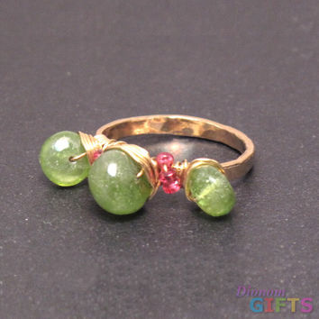 Heavy gauge ring wrapped with smooth peridot and pink spinel, adjustable size of 6-7 Ring Gold Or Silver