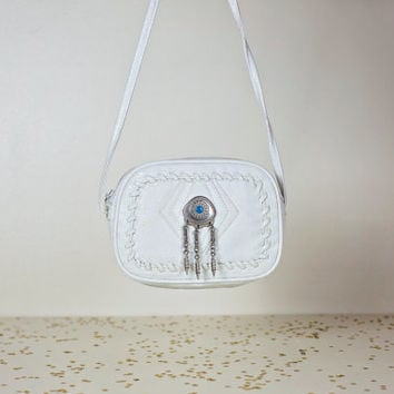small white leather crossbody bag / southwestern tribal native american purse