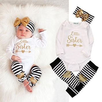 Girls Little Sister Long Sleeve Bodysuit, Striped Leg Warmer and Head Band 3 Piece Set