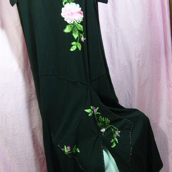 Black Maxi Dress, Cotton Knit, Hand Painted Roses, Size M Medium, Copa Cabana, Resort Cruise, Summer Wear