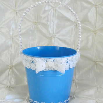 Flower Girl Bucket Basket Turquoise Blue and Ivory with Pearl Handle Beach Garden Shabby Chic Wedding