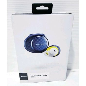Bose SoundSport Free, Wireless Earbud, Headphones, w/Charging Case NAVY/CITRON