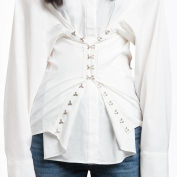 WHITE HOOK AND EYE CORSET SHIRT