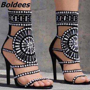 2018 Designer White Studded High Heel Sandals Sexy Cut-out Crystal Embellished Rivets Gladiator Shoes Woman Shoes