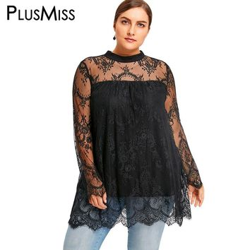 PlusMiss Plus Size 5XL Lace Crochet Scalloped Edge Blouse Shirt Women Clothes Sexy Mesh Sheer Long Sleeve Loose Tops Big Size