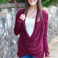 Cowl Neck / Cardigan Sweater {Wine}