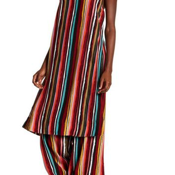DCCKHB3 Free People | Ruby Long Tank Drawstring Striped Pants 2-Piece Set