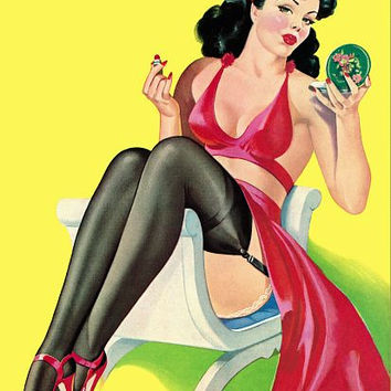 Pinup Girl Brunette With Compact And Poster