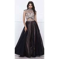 Nude Beaded Crop Top Black Tulle Overlay Skirt Two-Piece Prom Gown