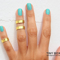 Gold Rings - Gold Bands Above The Knuckle Ring - Gold Band  Knuckle Rings - Set of  3 by Tiny Box -