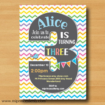 Rainbow Birthday party invitation chevron, 1st 2nd 3rd 4th 5th 6th 7th Birthday Invitation, two three four five six seven - card 614