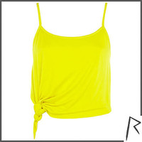 Yellow Rihanna knot front cropped cami top - tops / t-shirts - rihanna for river island - women