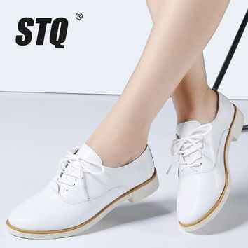 STQ 2017 Autumn women flats genuine leather white casual oxford shoes ladies lace up b