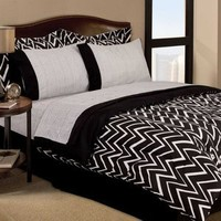 RETRO ZIGZAG DORM TEEN 6pc BLACK & WHITE TWIN COMFORTER SHEETS BEDDING SET