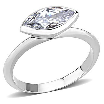 A Perfect 1.1CT Marquise Cut Russian Lab Diamond Bevel Set Ring