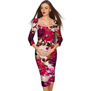 Vintage Charm Lili Floral Print Bodycon Midi Dress - Women