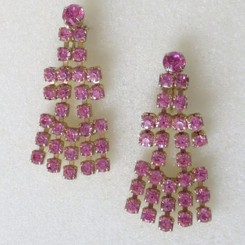 Pink Rhinestone Chandelier Earrings, Prong Set Crystal Cascades, Vintage, Wedding, Prom