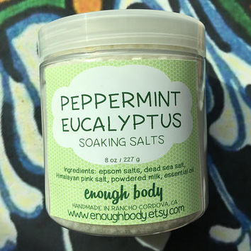 Peppermint Eucalyptus Soaking Salts ~ Bath Salts ~ Milk Bath ~ Salt Soak ~ Herbal Bath Salts ~ Aromatherapy Bath