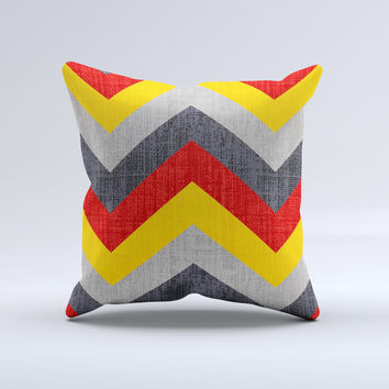 Scratched Yellow Red Accented Chevron Pattern V3 ink-Fuzed Decorative Throw Pillow