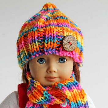 American Girl Doll Hand Knitted Bright Multi-Colored Winter Accessories, Hat Scarf Leg Warmers for 18 Inch Doll