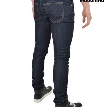 MOSCHINOMETAL LOGO RAW JEANS - DENIM