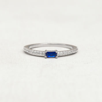 Baguette Eternity Ring - Silver + Sapphire
