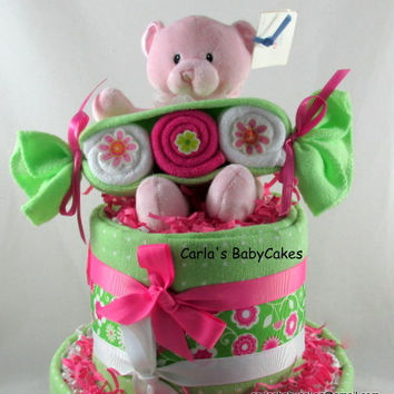 Girl Diaper Cake | Baby Diaper Cake | Pink Diaper Cake | Baby Shower Decoration | New Mom Gift | Baby Shower Gift | Washcloth Peapods