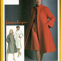 Pauline Trigere Designer Sewing Pattern Simplicity Uncut FF High Fashion Coat Dress Semi Fitted Tent Shaped A-line Size 14 Bust 36