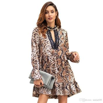 Women 2019 early spring new leopard dress long sleeve lace ladies temperament commute skirt large size dress