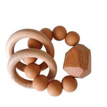 Hayes Silicone+Wood Teether Ring Terra Cotta by Chewable Charm