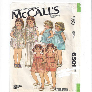 McCall's 6501 Pattern for Toddlers' Set of Dresses & Tops, Size 1, From 1979, Quick and Easy, Vintage Pattern, Home Sewing Pattern, Carefree