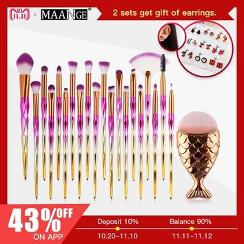 Hot 11/21pcs Mermaid Diamond Makeup Brush Set Fish Tail Foundation Blush Eye shadow Make up Brush Contour Blending Brushes Kit
