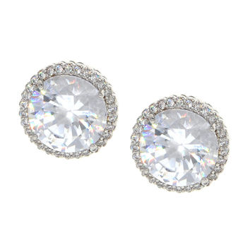 Dear Deer White Gold Plated Round White Cubic Zirconia Halo Stud Earrings