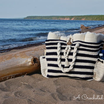 "Crochet Pattern: ""Nautical Knots"" Beach / Yarn / Tote Bag, 2 sizes included, Permission to Sell Finished Items"