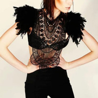Steampunk jewelry black feather textile statement collar corset  top with epaulettes epaulets LIMITED EDITION