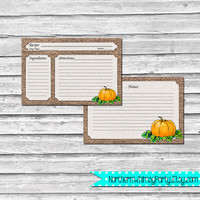 4x6 Recipe Cards – Pumpkin on Rustic Burlap – Printable Thanksgiving Hostess Gift or Fall Shower or Housewarming Gift – INSTANT DOWNLOAD