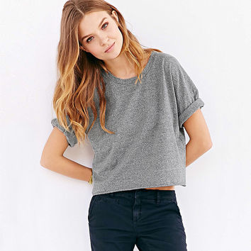 Casual Gray Crop Top Shirt