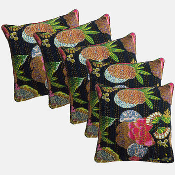 Kantha Cushion Indian Kantha Pillows Set of 5 Hand Quilted Reversible