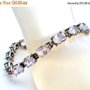 "Sale Sterling Silver, Amethyst Bracelet, Gemstone Bracelets, 15 Carats, 7.25"" Long, Tennis Bracelet, Fashion Jewelry, Purple Gemstones"