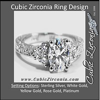 Cubic Zirconia Engagement Ring- The ________ Naming Rights 1259 (0.9 Carat Round Cut with Filigree Band and Accent Stones)